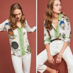 Maeve by Anthropologie Retro print silk blouse